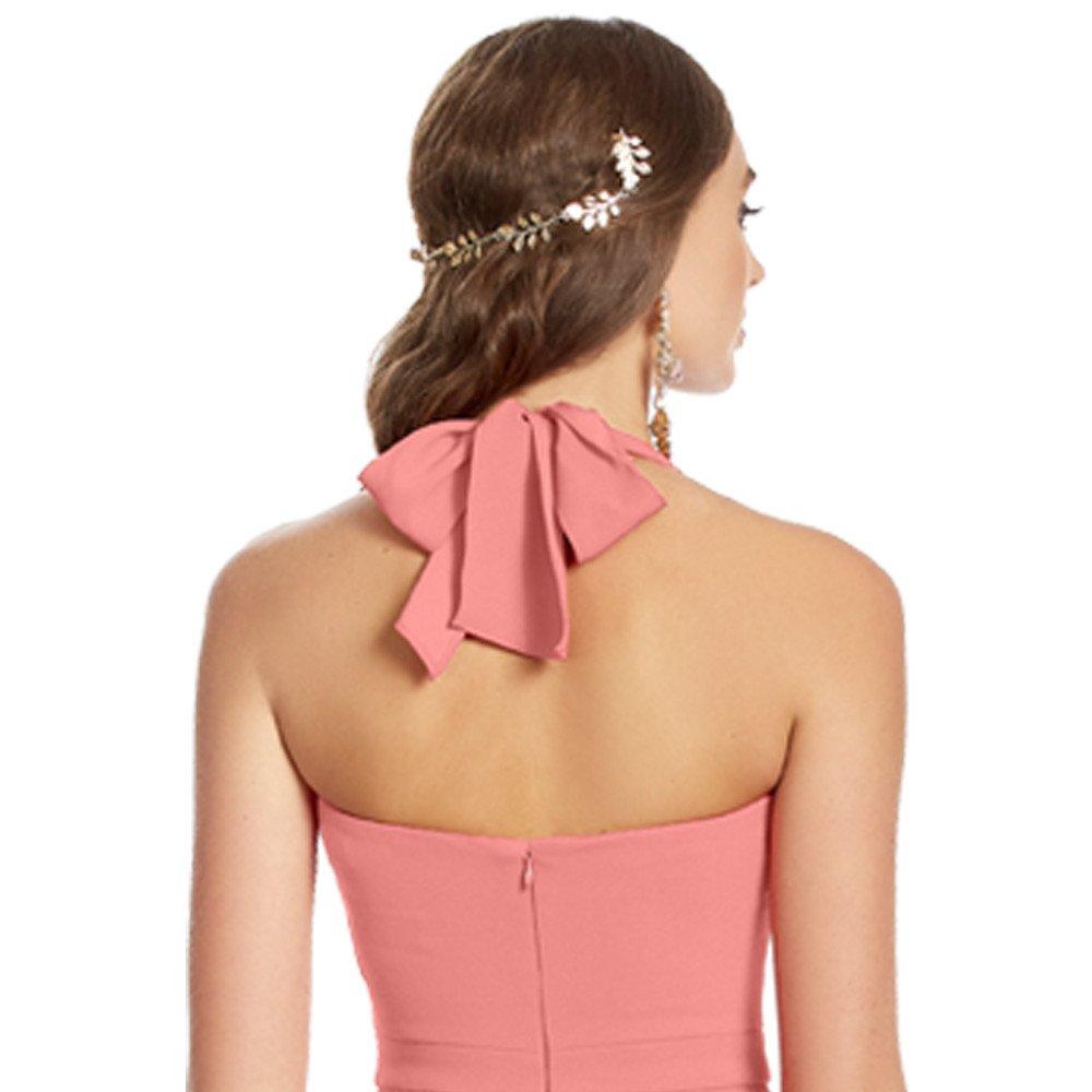 Cataleia vestido largo cuello tipo halter abertura frontal