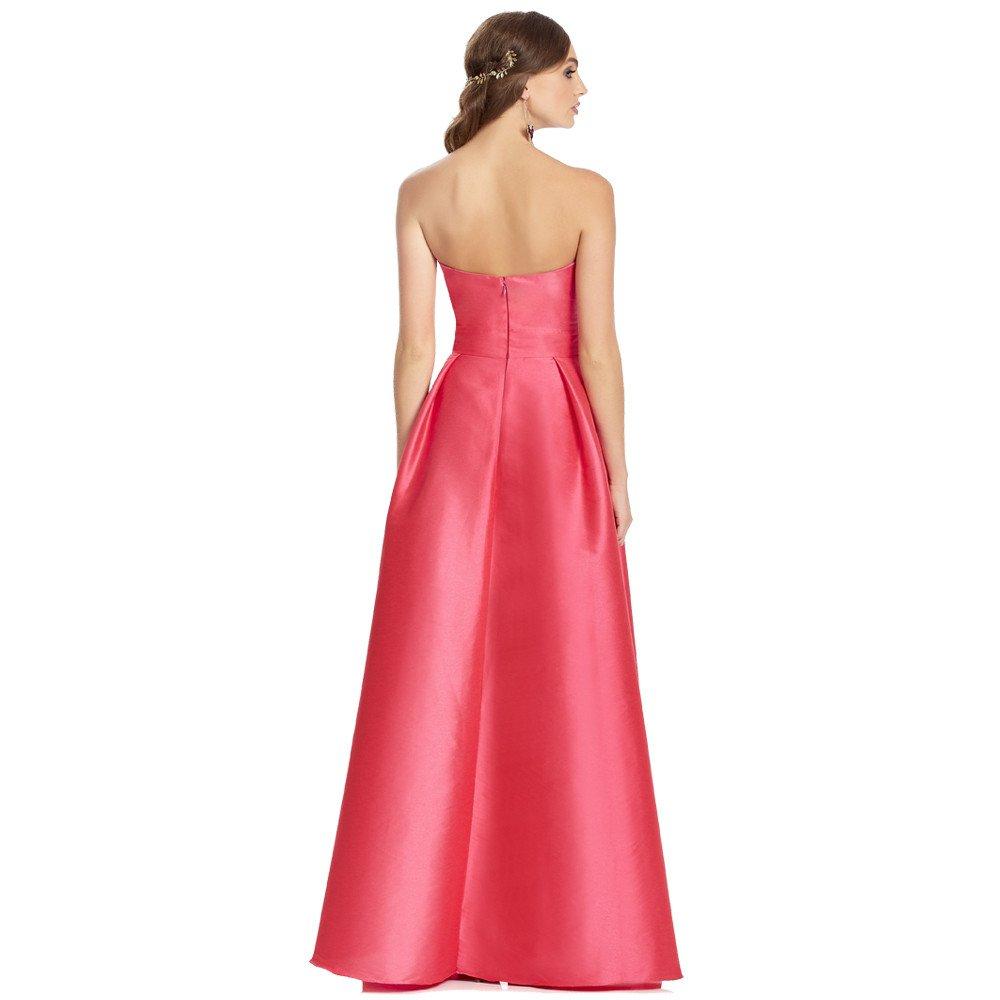 Olivia vestido largo strapless, con efecto doble falda