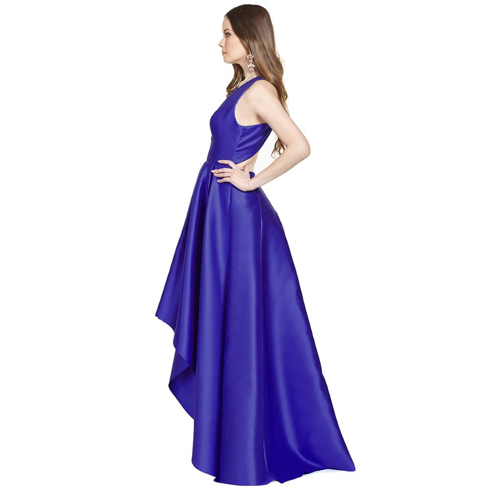 Rachel vestido largo asimétrico espalda descubierta