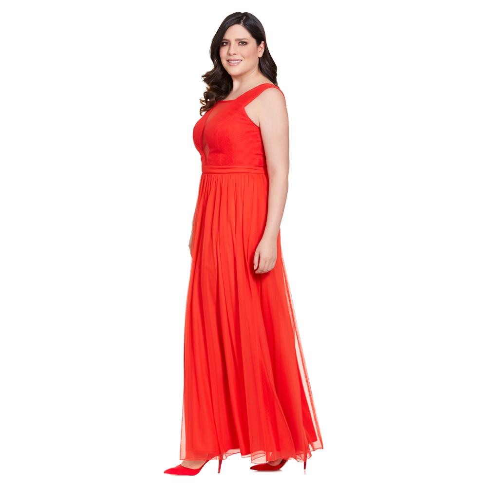 Aleida vestido largo  escote simulado