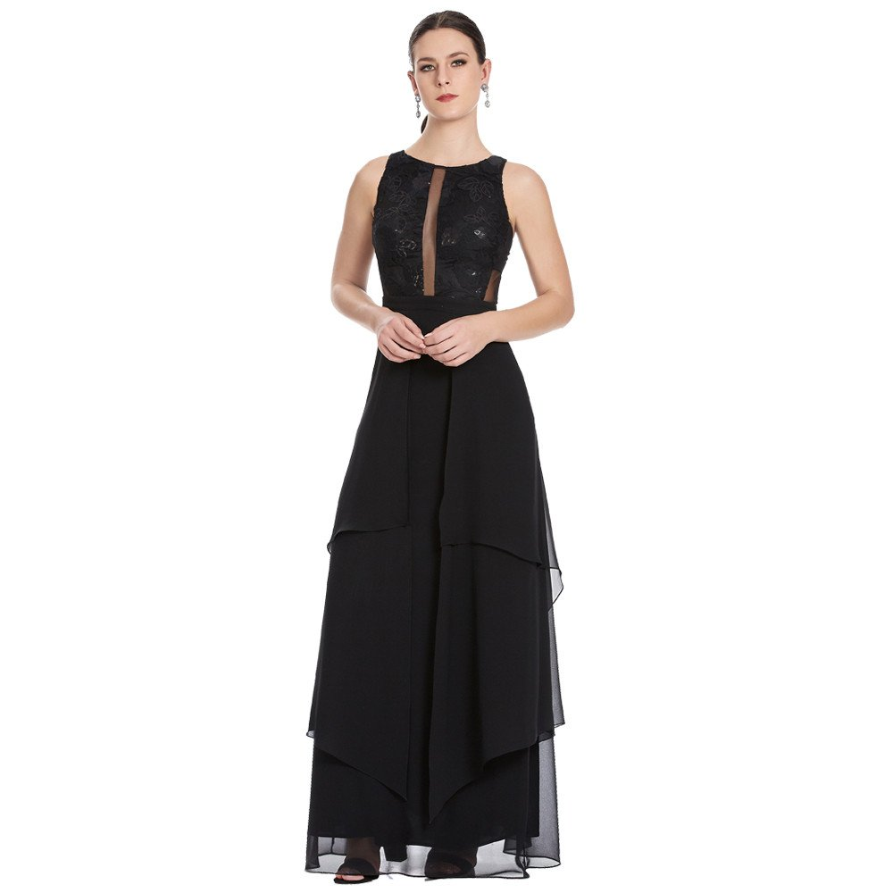 Cassandra vestido largo con transparencias sin mangas con asimetría