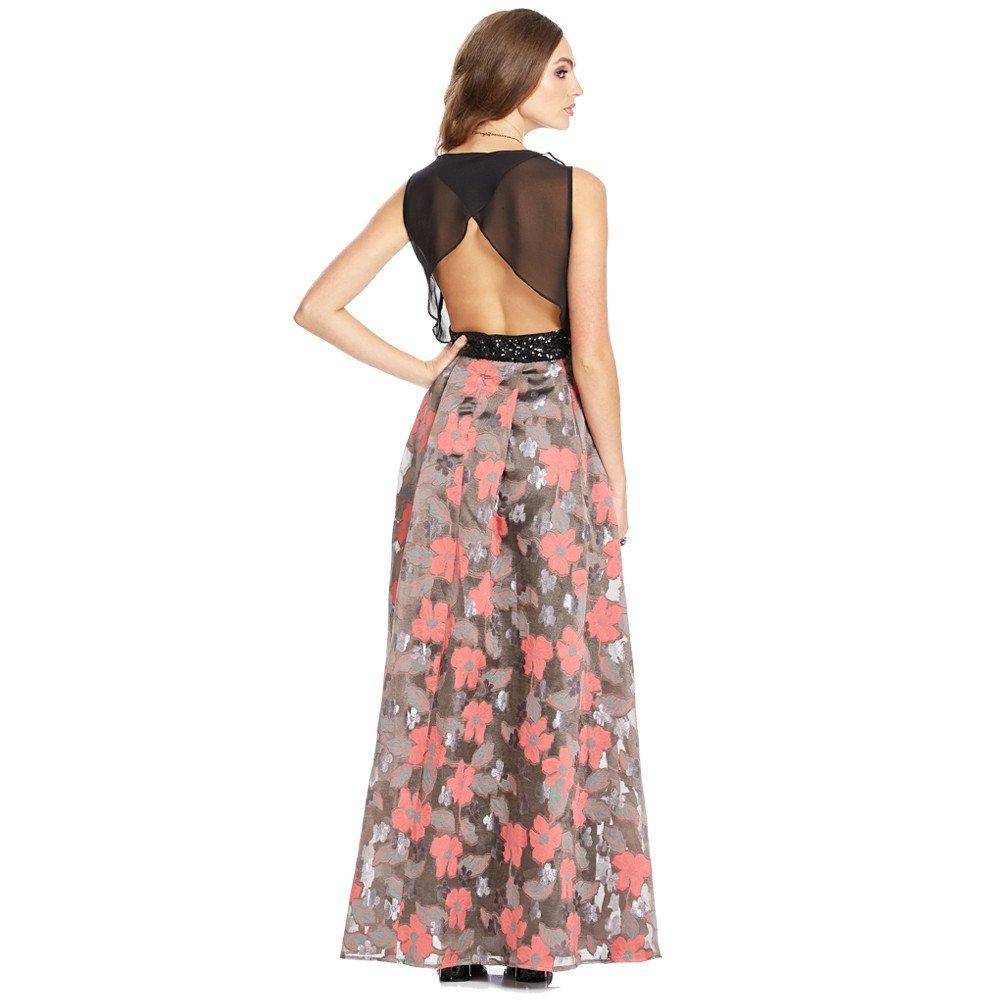 Rosaura vestido largo corte a la cintura con transparencia sin mangas