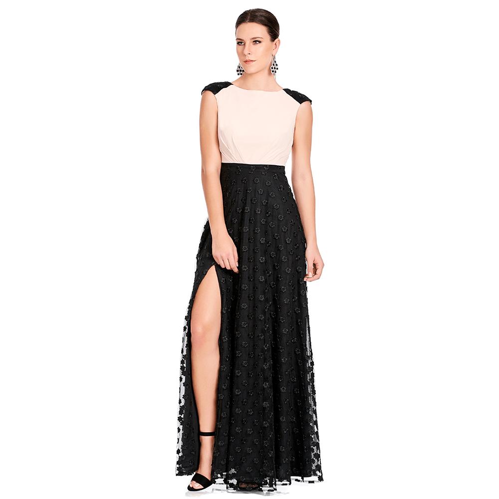 Maite vestido largo escote en espalda y abertura frontal en falda