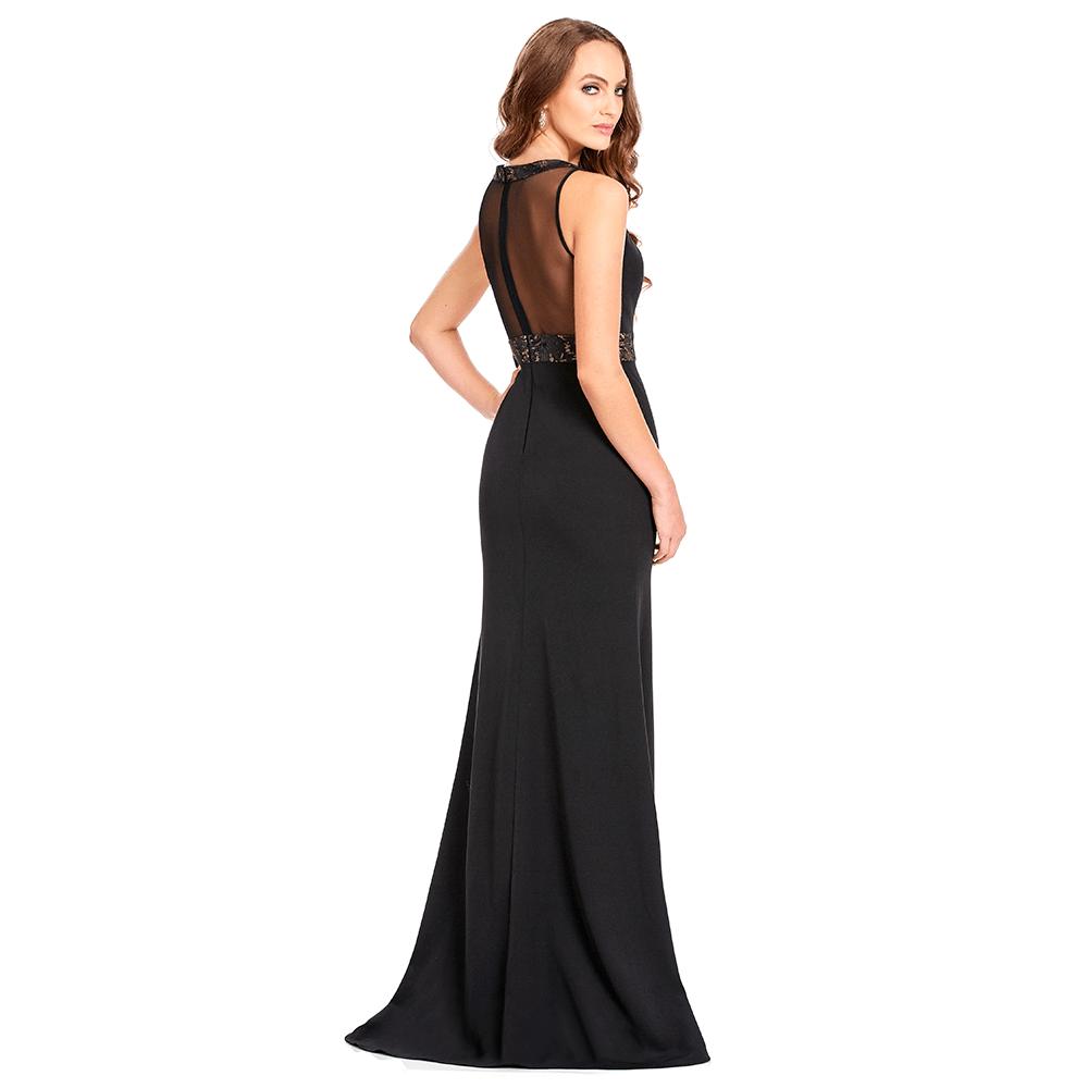 Ariane vestido largo ajustado con cauda sin manga