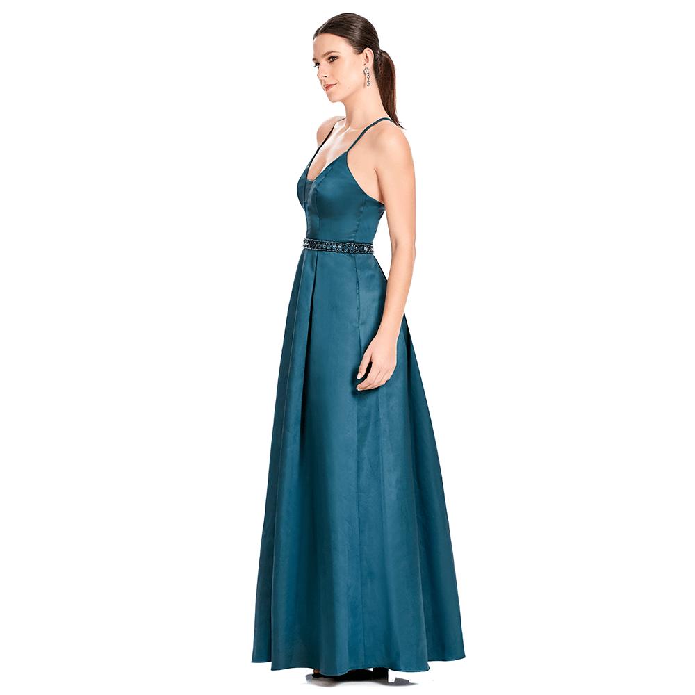 Samira vestido largo escote V con transparencia