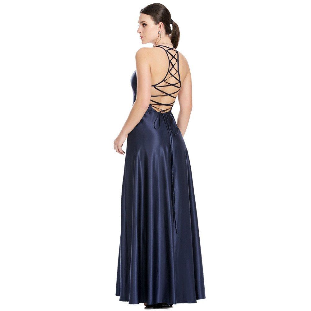 Theila vestido largo línea A espalda descubierta con jaretas