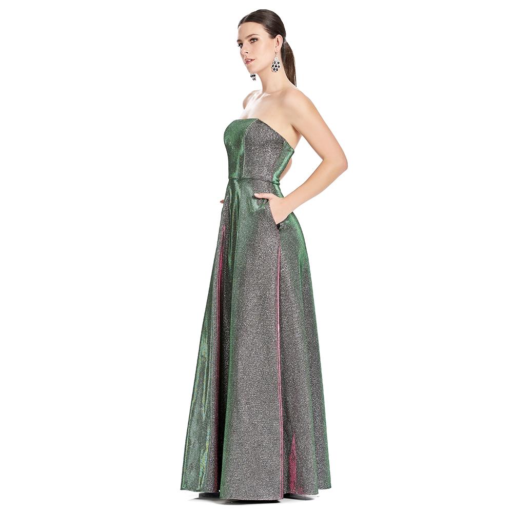 Laura vestido largo strapless línea A