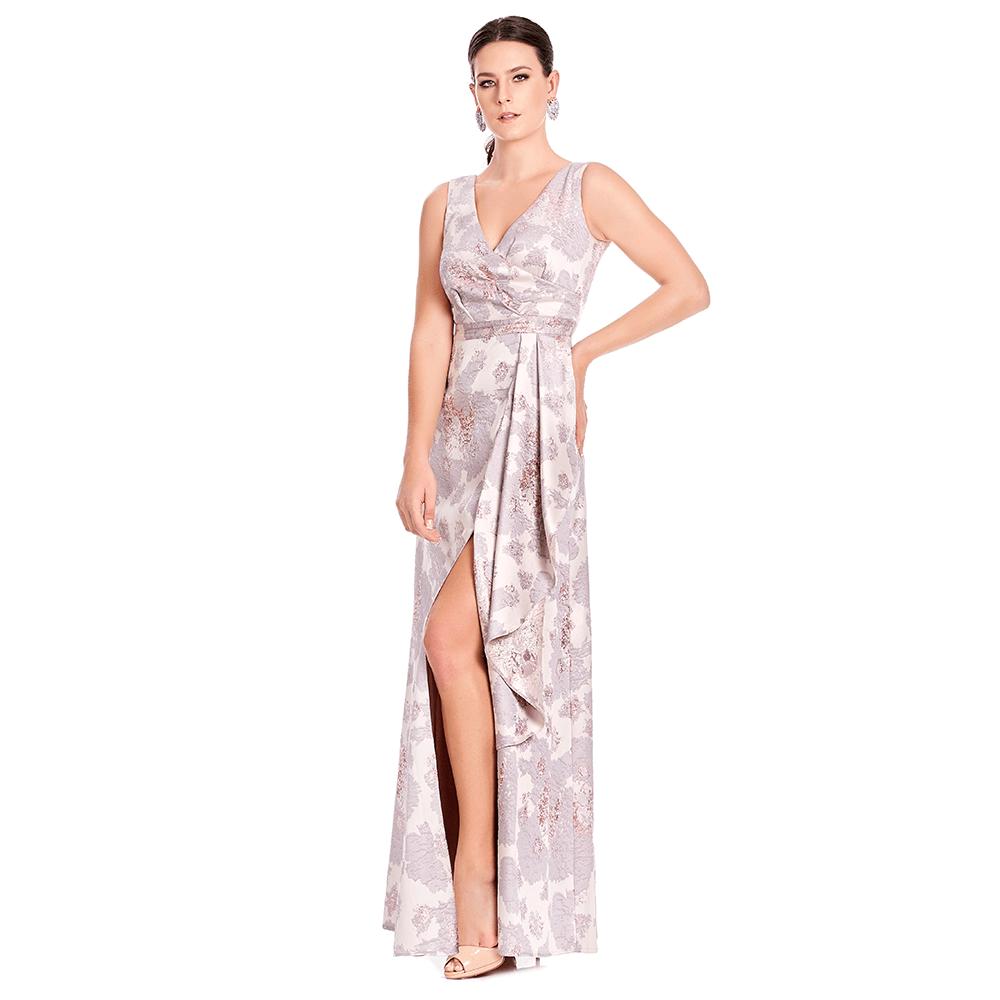 Afrodita vestido largo asimétrico con abertura frontal