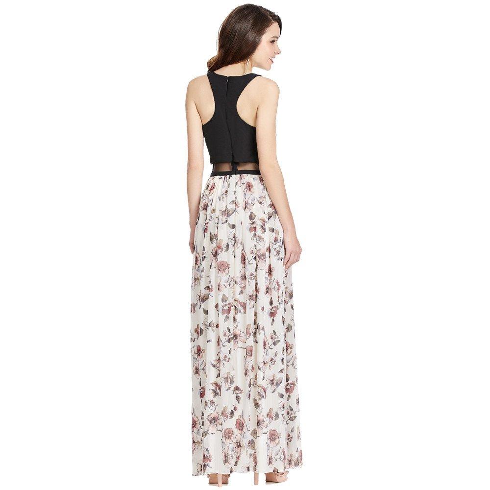 Damaris vestido largo floral con transparencia en cintura
