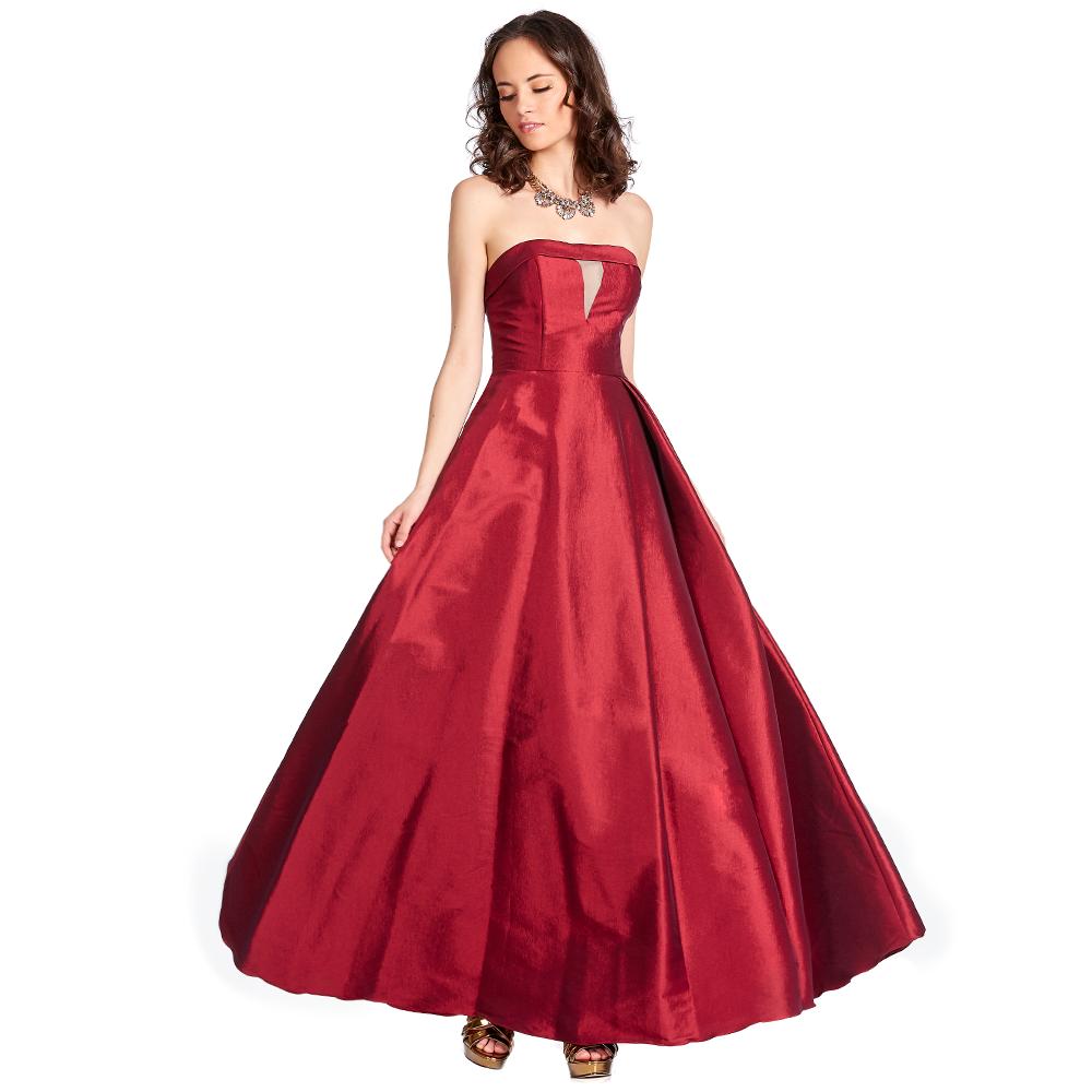 Celine vestido largo strapless con transparencia