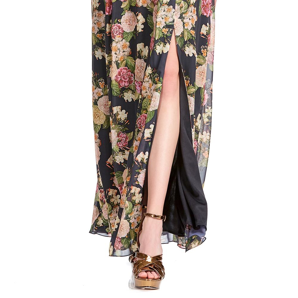 Marcela vestido largo escote V con transparencia