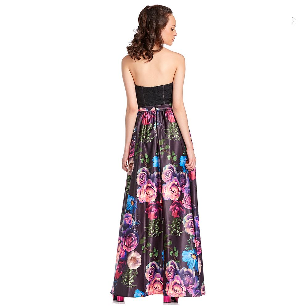 Danesa vestido largo con falda de raso estampada