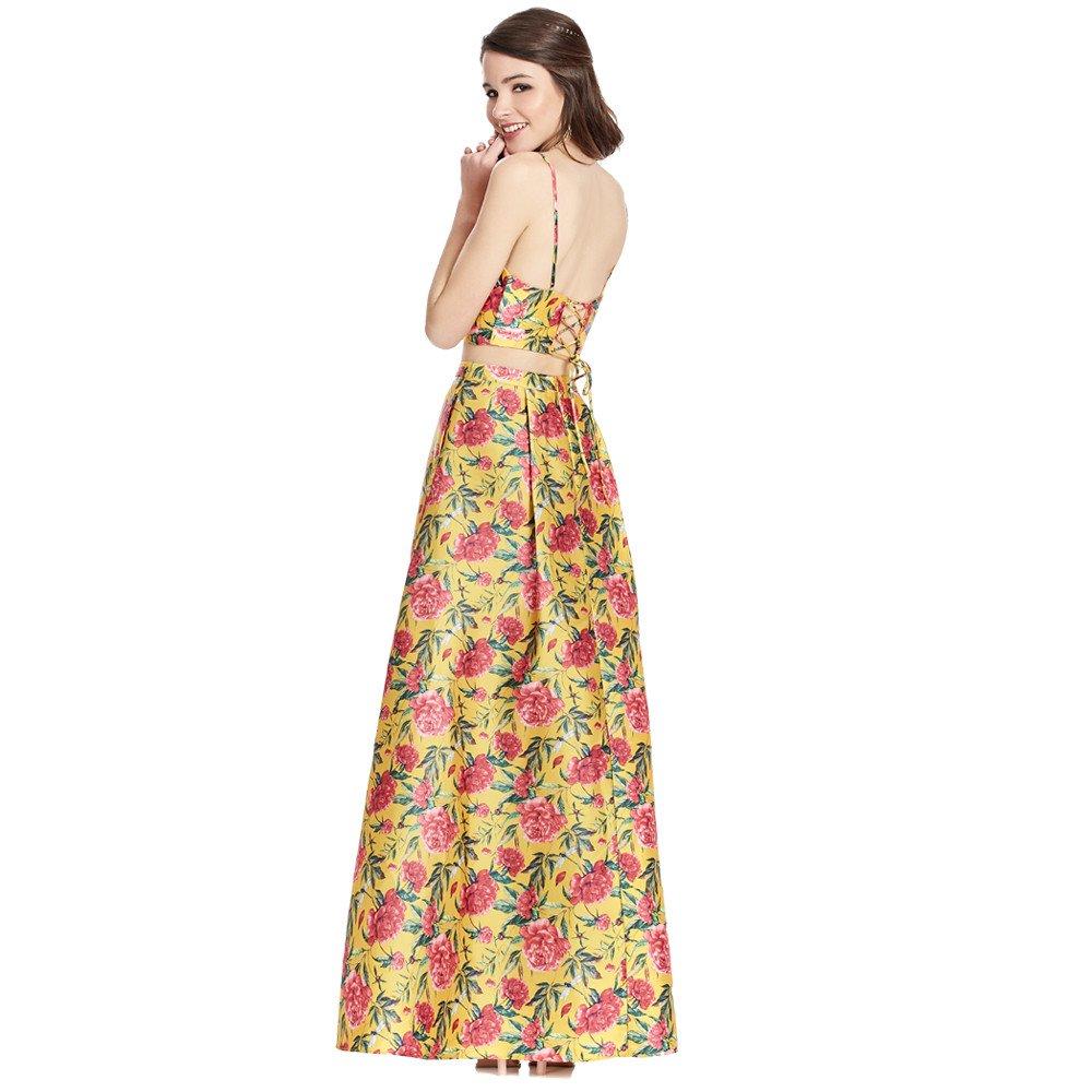 Antonia vestido largo línea A con crop top ajustable