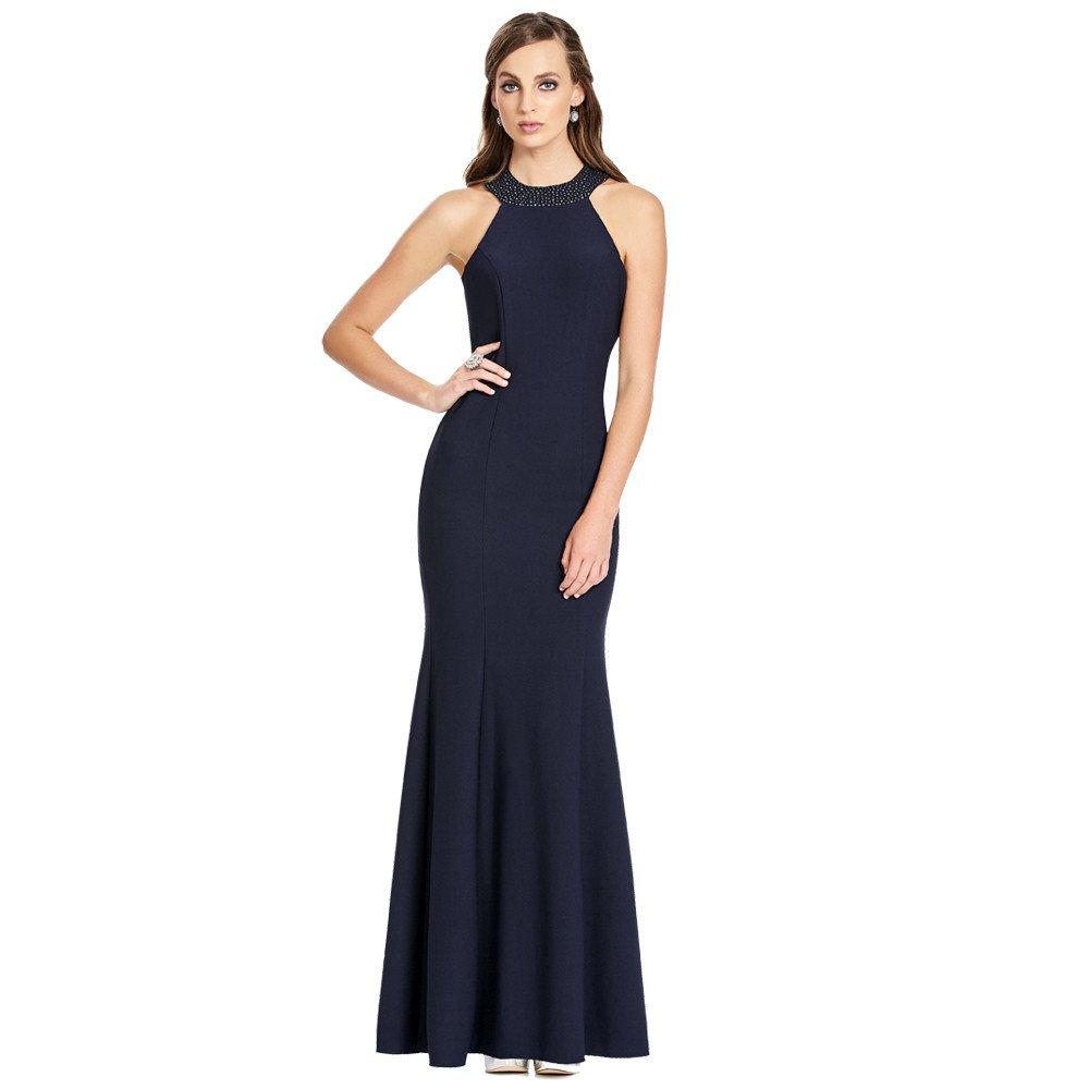 Selene vestido largo corte francés línea A espalda descubierta