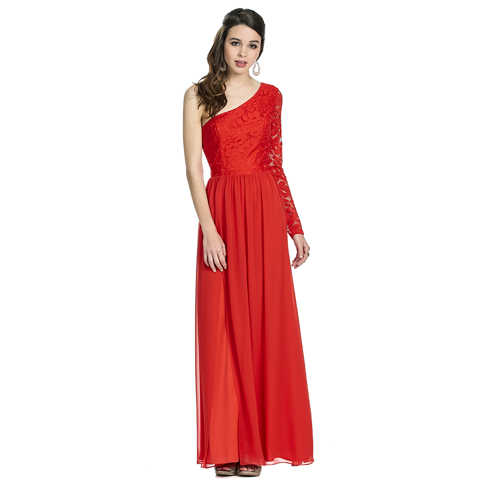 Sandy vestido largo asimétrico con manga larga