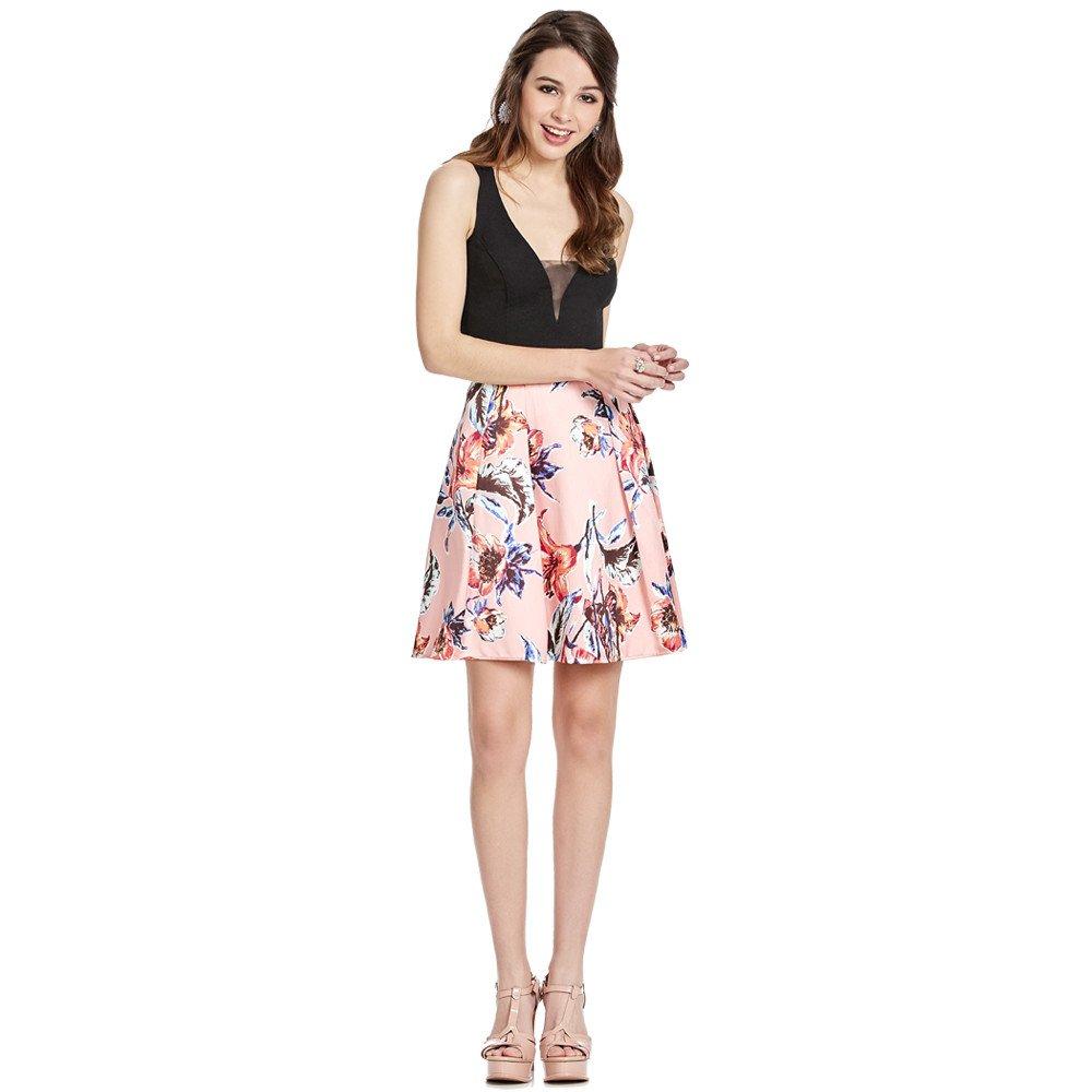 Silvana vestido corto escote profundo velado con transparencia