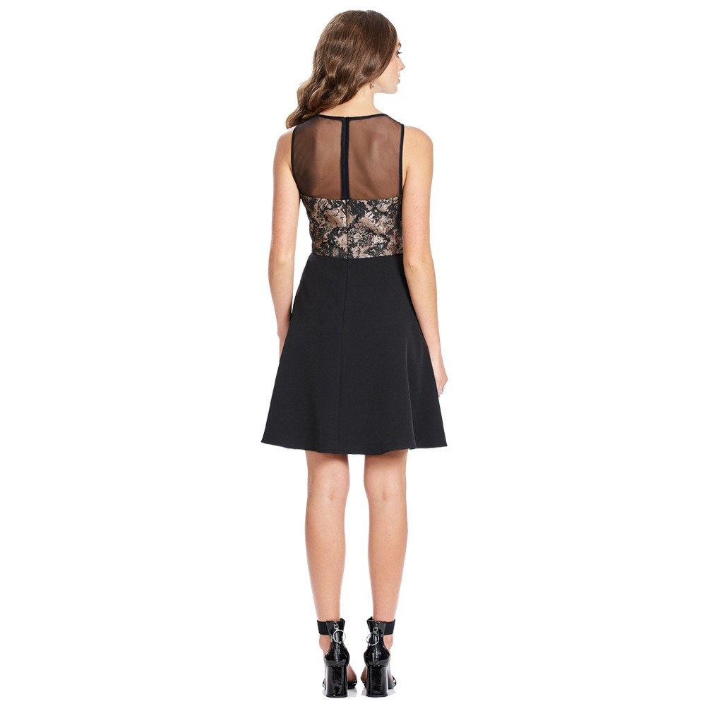 Shantal vestido corto línea A sin mangas con detalle de transparencia
