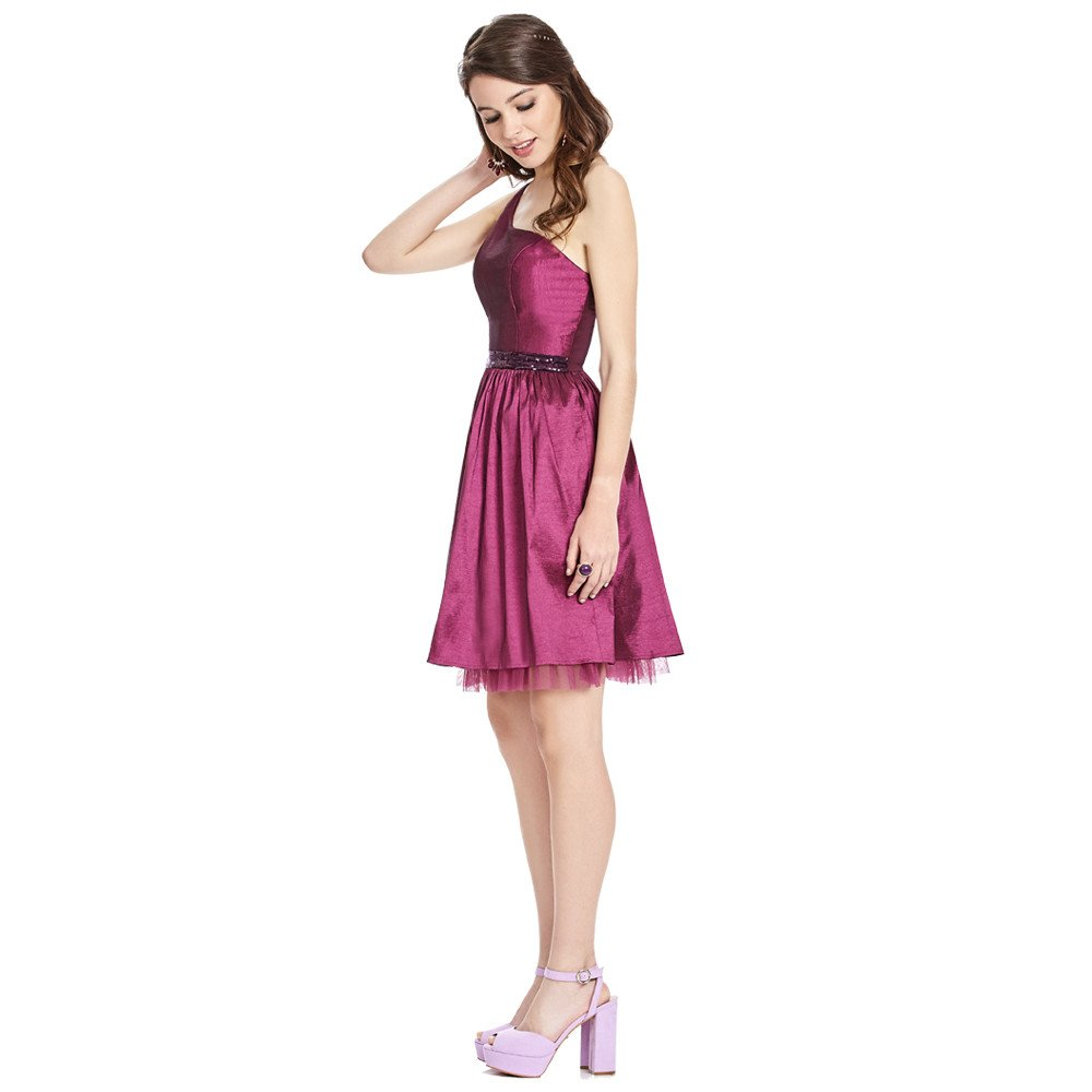 Roberta vestido corto un solo hombro sin mangas con pretina