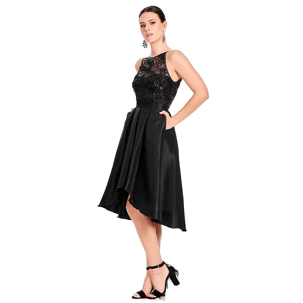 Maribel vestido high-low con espalda semidescubierta