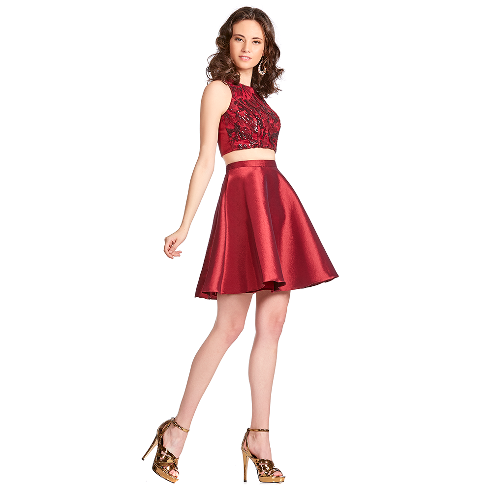 Cristal vestido corto con top de lentejuela
