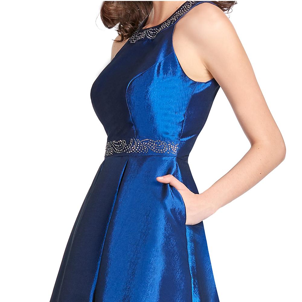 Brenda vestido high-low con espalda semidescubierta