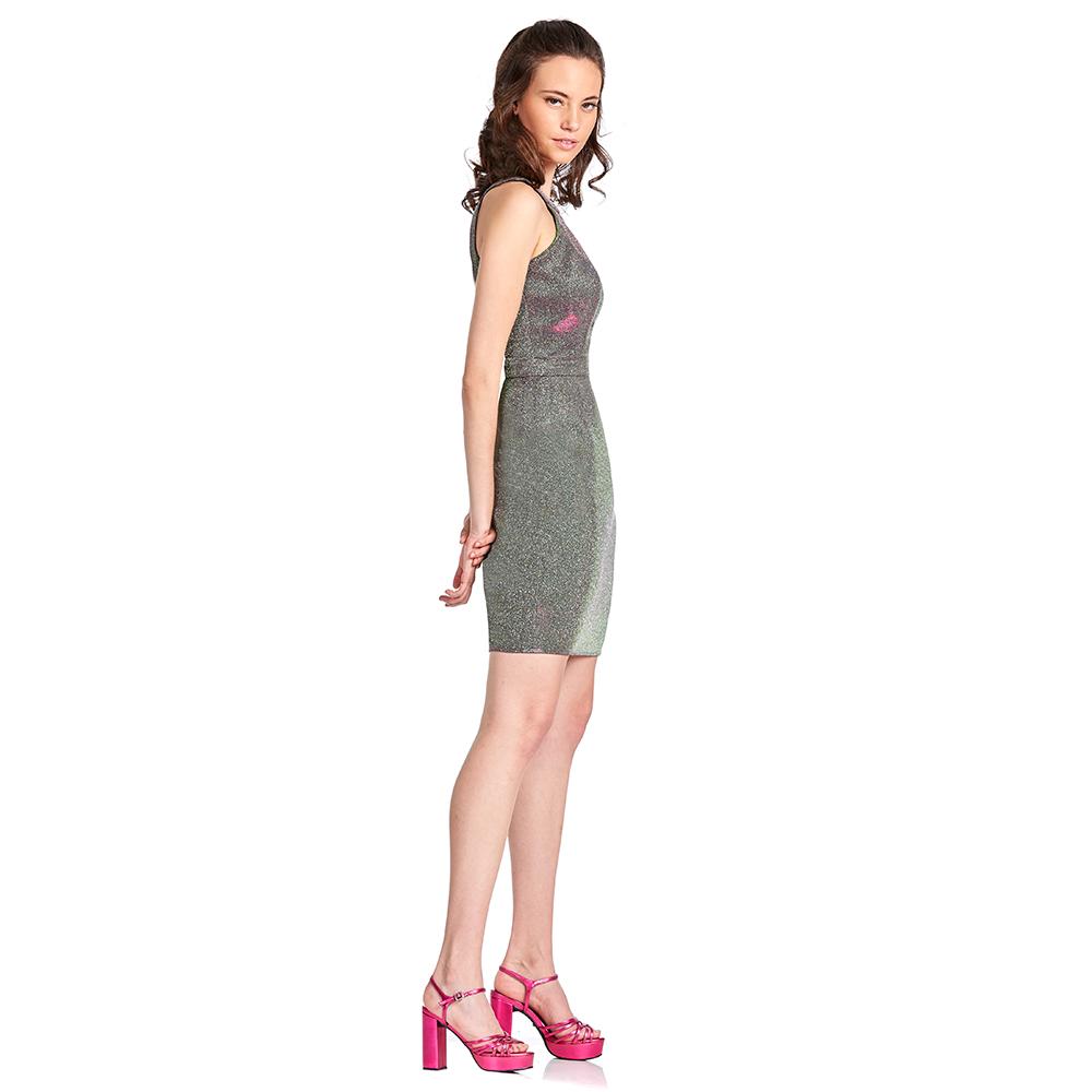 Anel vestido corto halter con tiras cruzadas