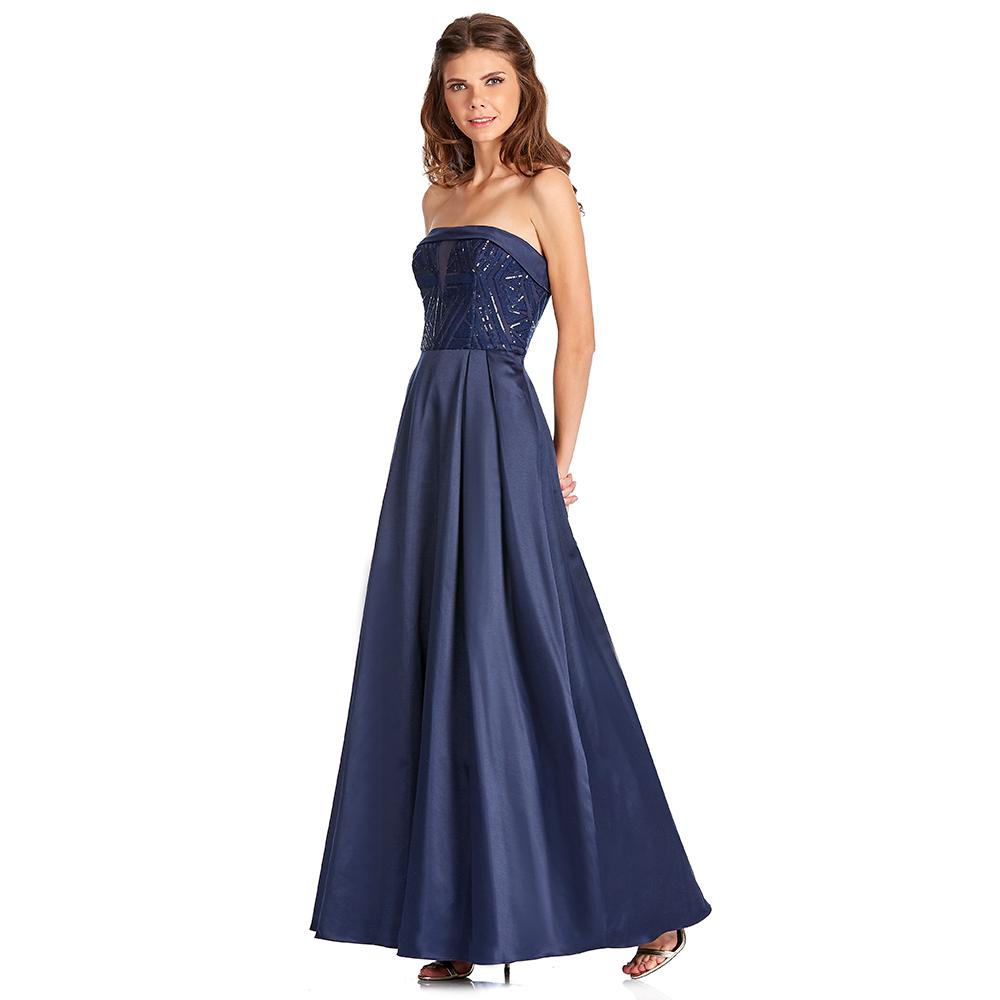 Olinda vestido largo strapless con transparencia