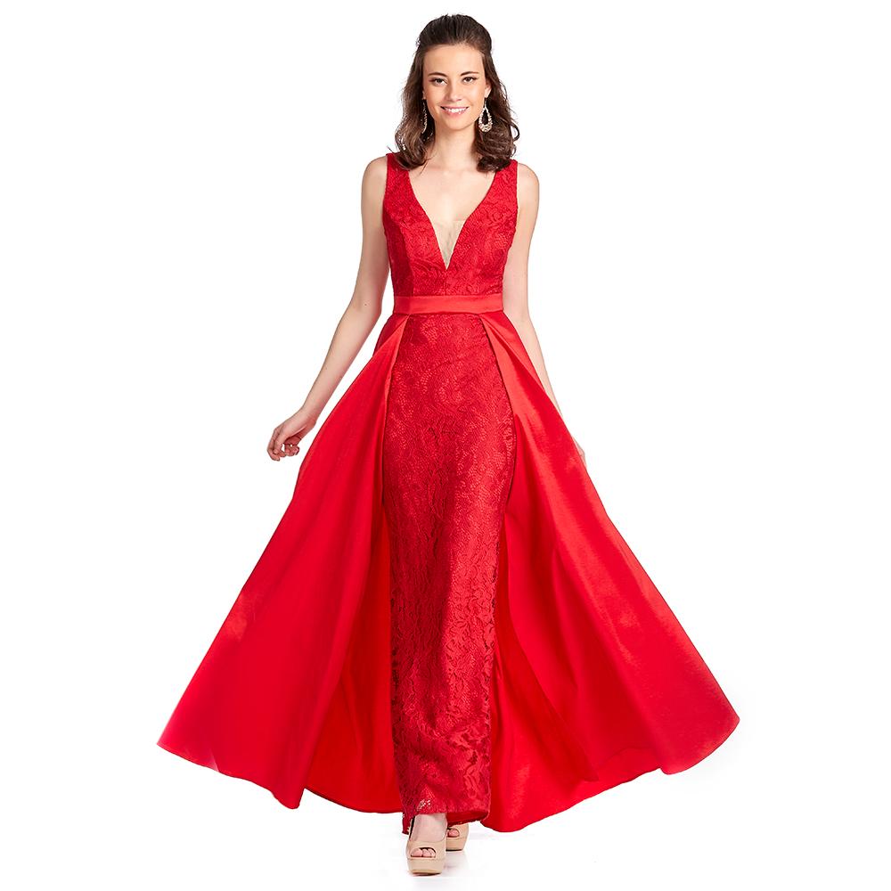 Antonieta vestido largo con sobrefalda