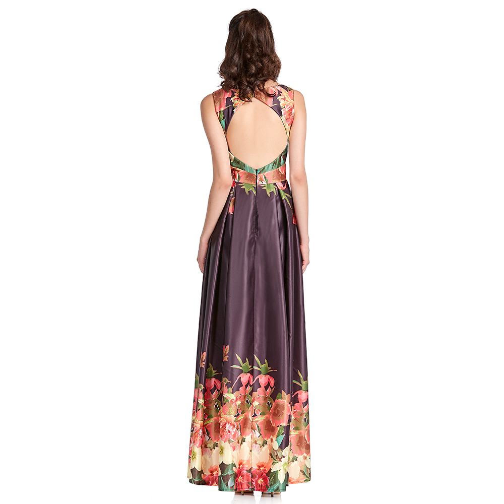 Gladis vestido largo estampado con escote V profundo