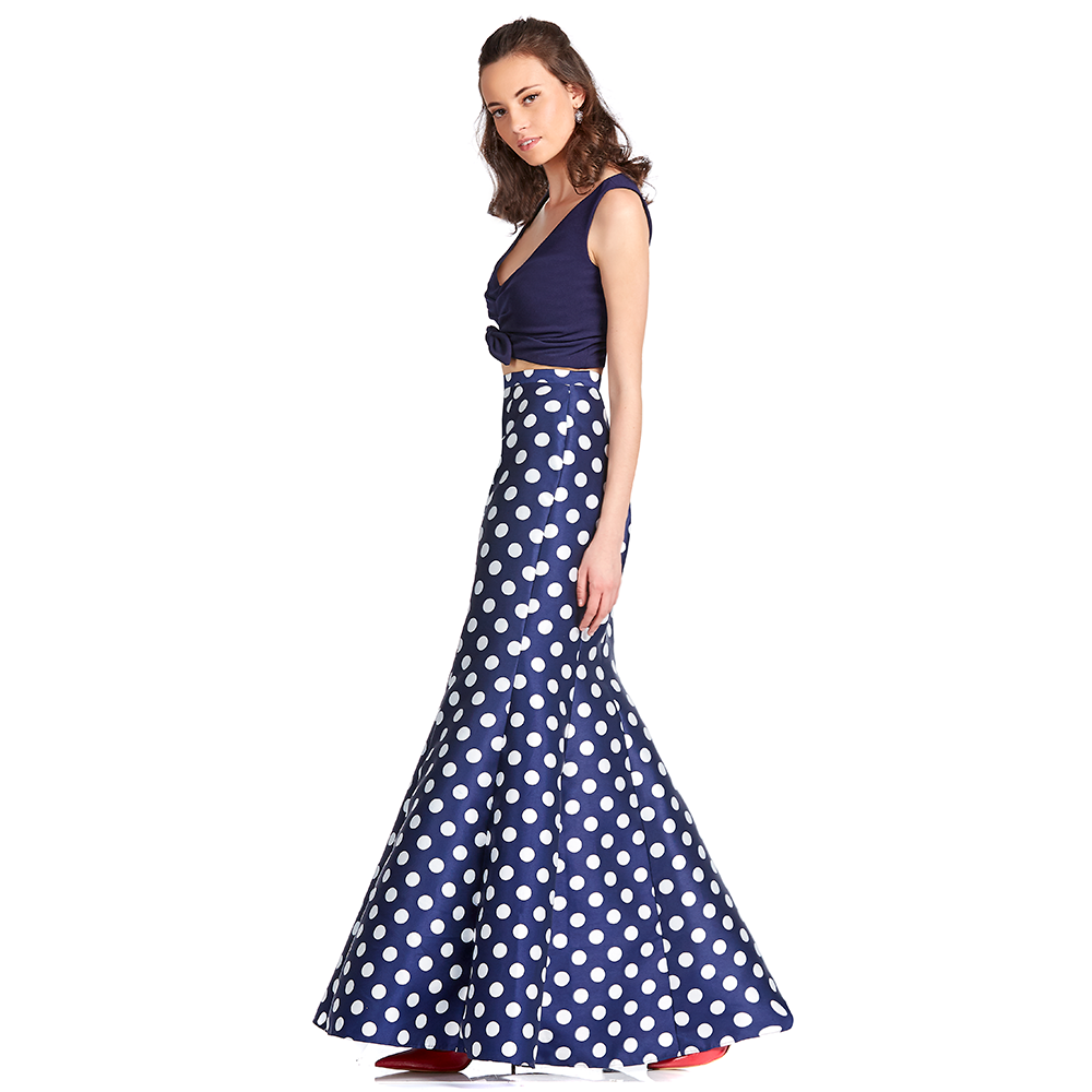 Cora vestido largo crop top estampado polka dots