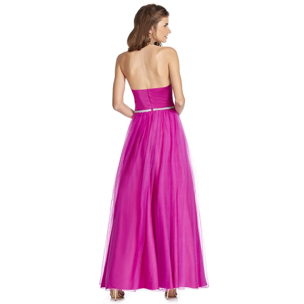 Victoriana vestido largo strapless con brillante cinturon