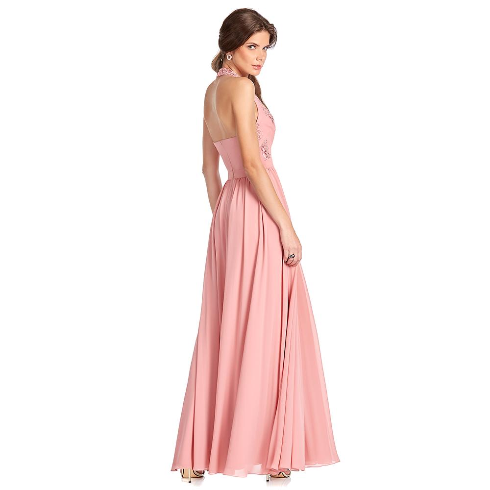 Enedina vestido largo halter falda semicircular