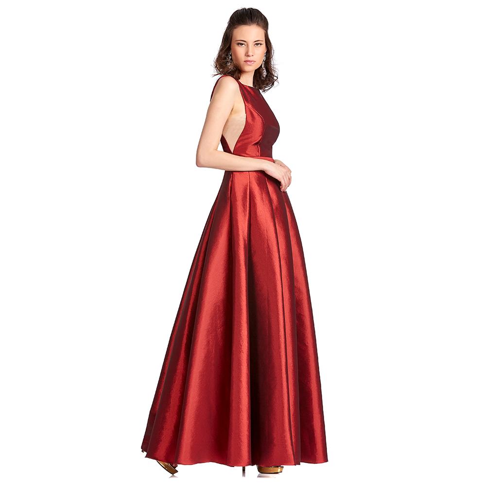 Ernestina vestido largo escote ojal con tablones