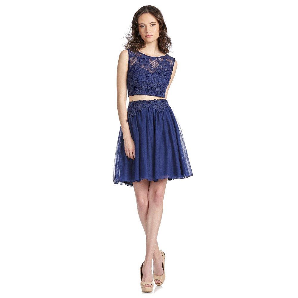 Leida vestido corto con encaje y transparencias