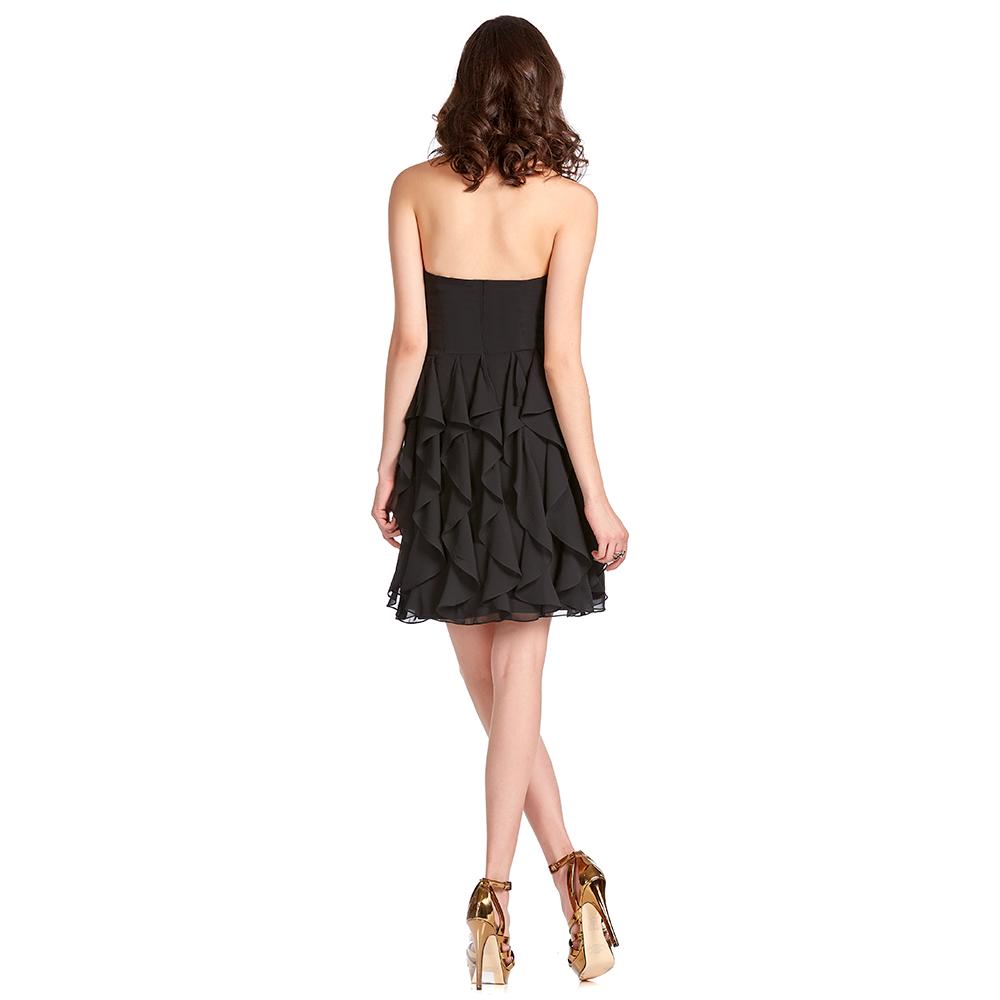Vivian vestido corto strapless con escarolas