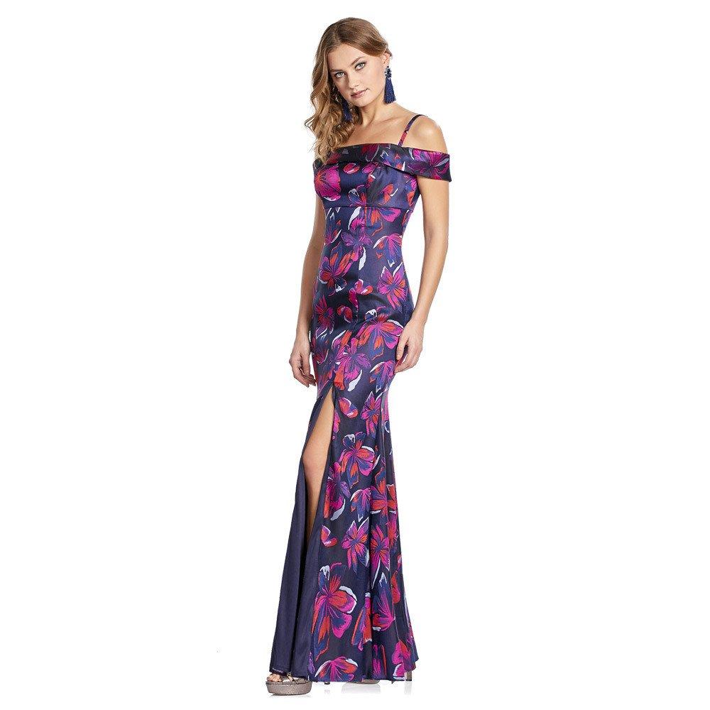 Patty vestido con estampado de flores en contraste y escote of-shoulder.