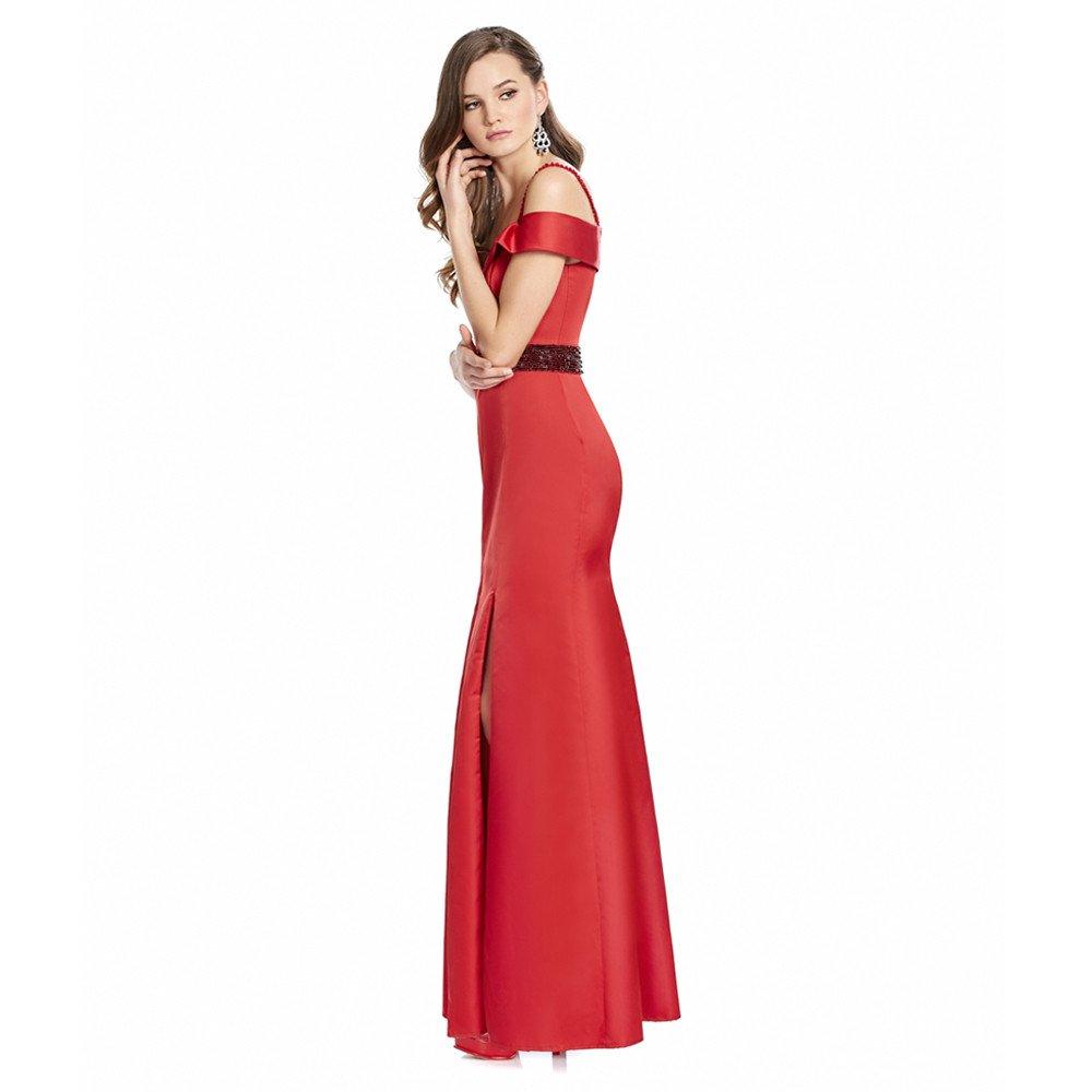 Alma vestido largo off shoulder falda con abertura