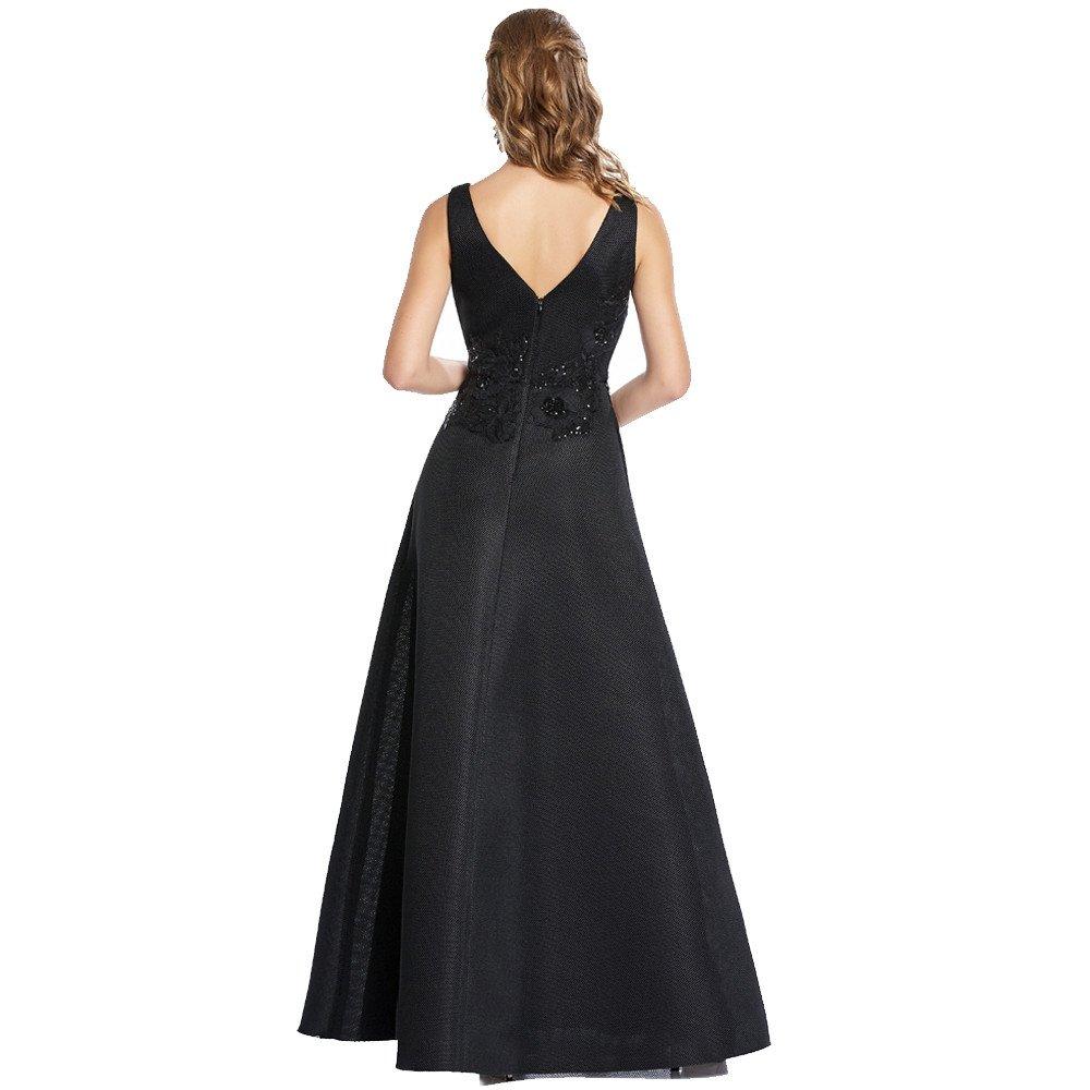 Genoveva vestido largo escote V con detalle en bordado floral