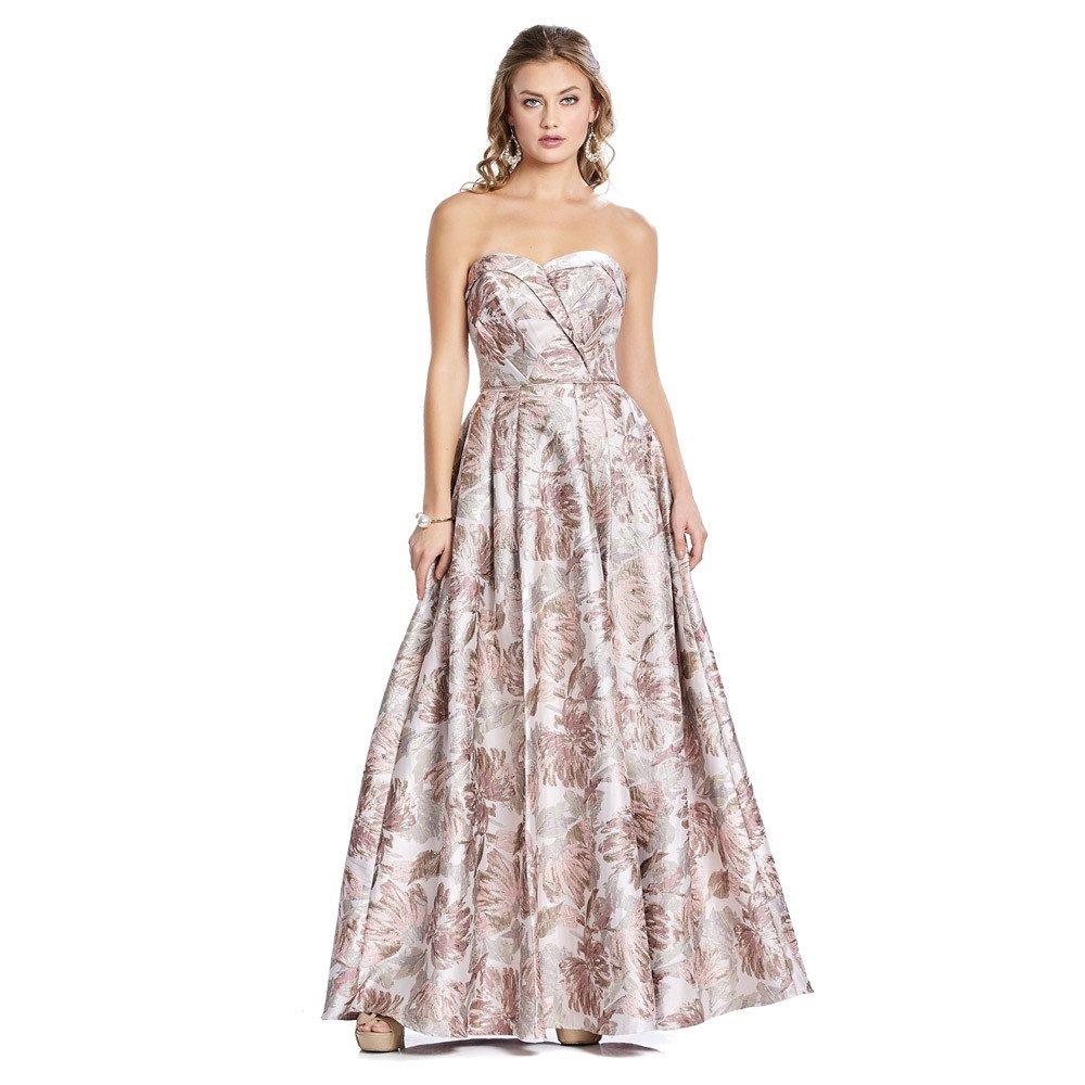 Sol vestido largo con estampado metalizado de flores y pinzas decorativas