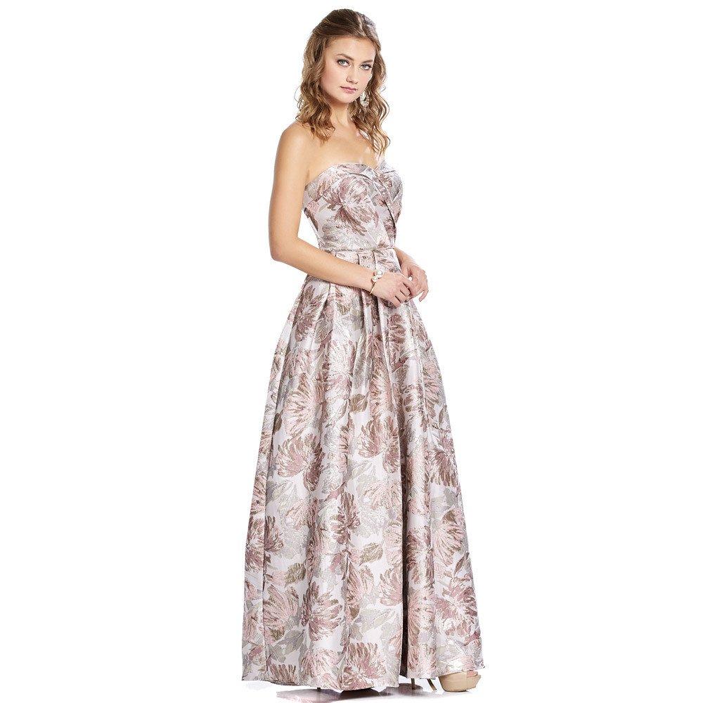 Sol vestido largo con estampado metalizado de flores y pinzas decorativas.