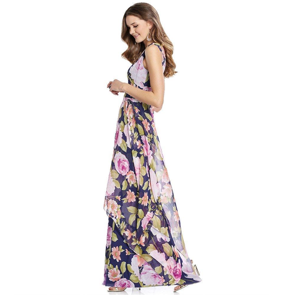 Bianca vestido largo de organza estampado