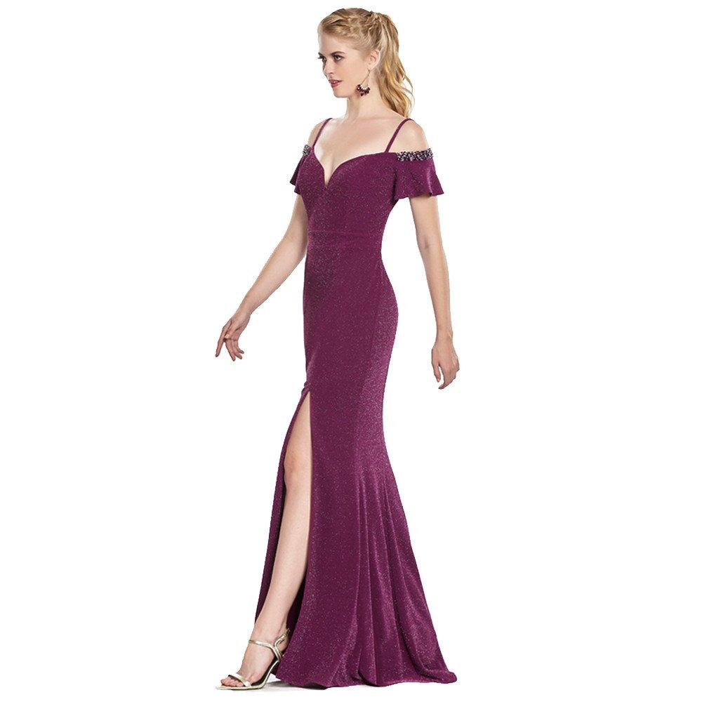 Gretel vestido largo corte sirena con abertura en pierna