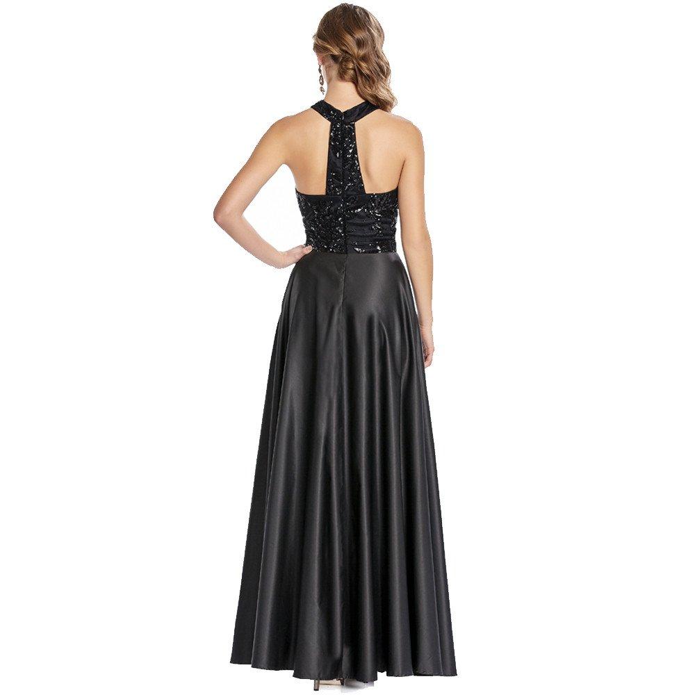 Serena vestido largo escote redondo bordado en top