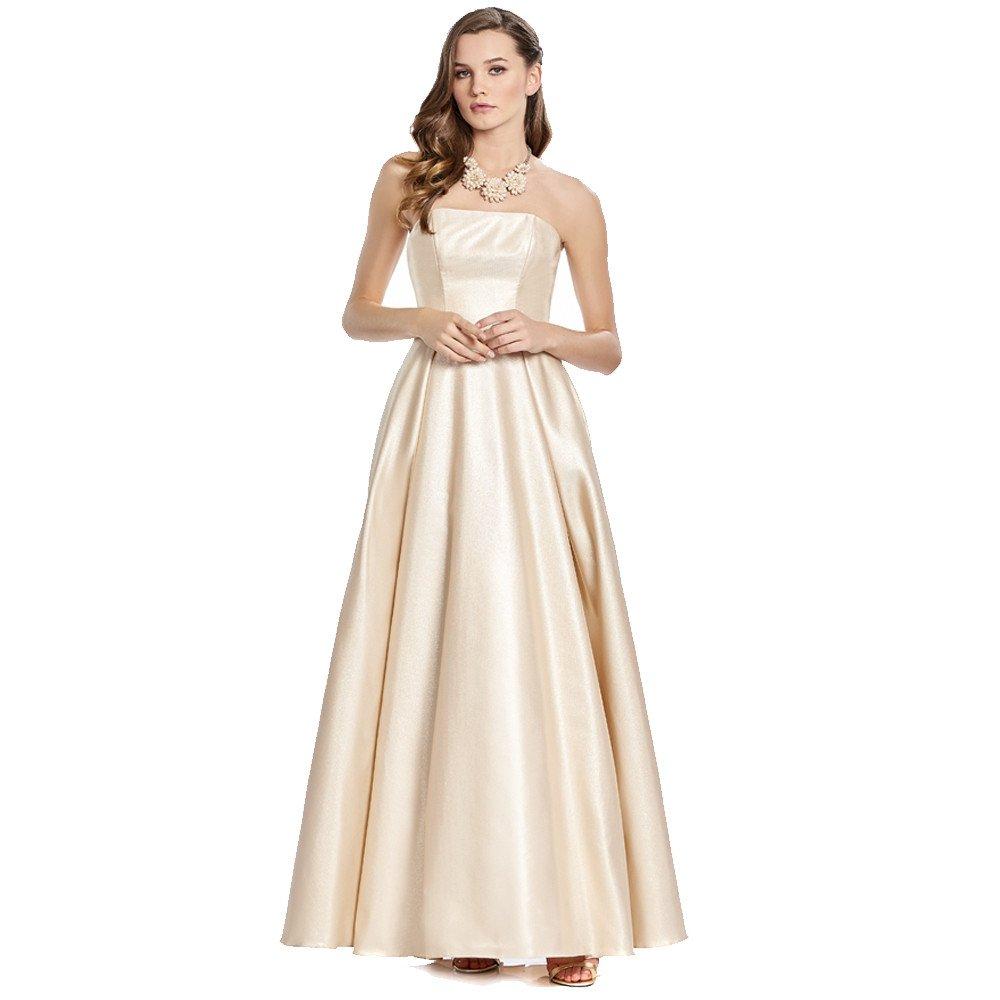 Marianella vestido largo strapless con falda en línea A