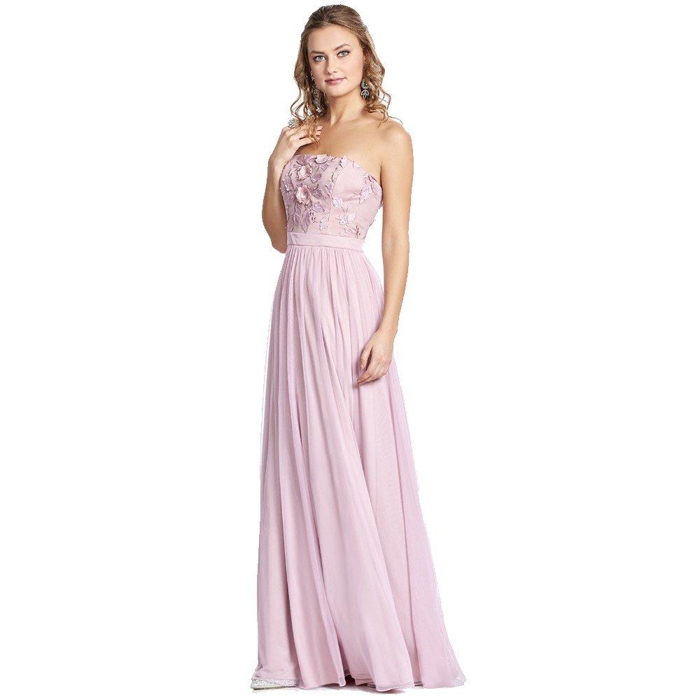 Carlota vestido largo strapless con detalle floral en torso