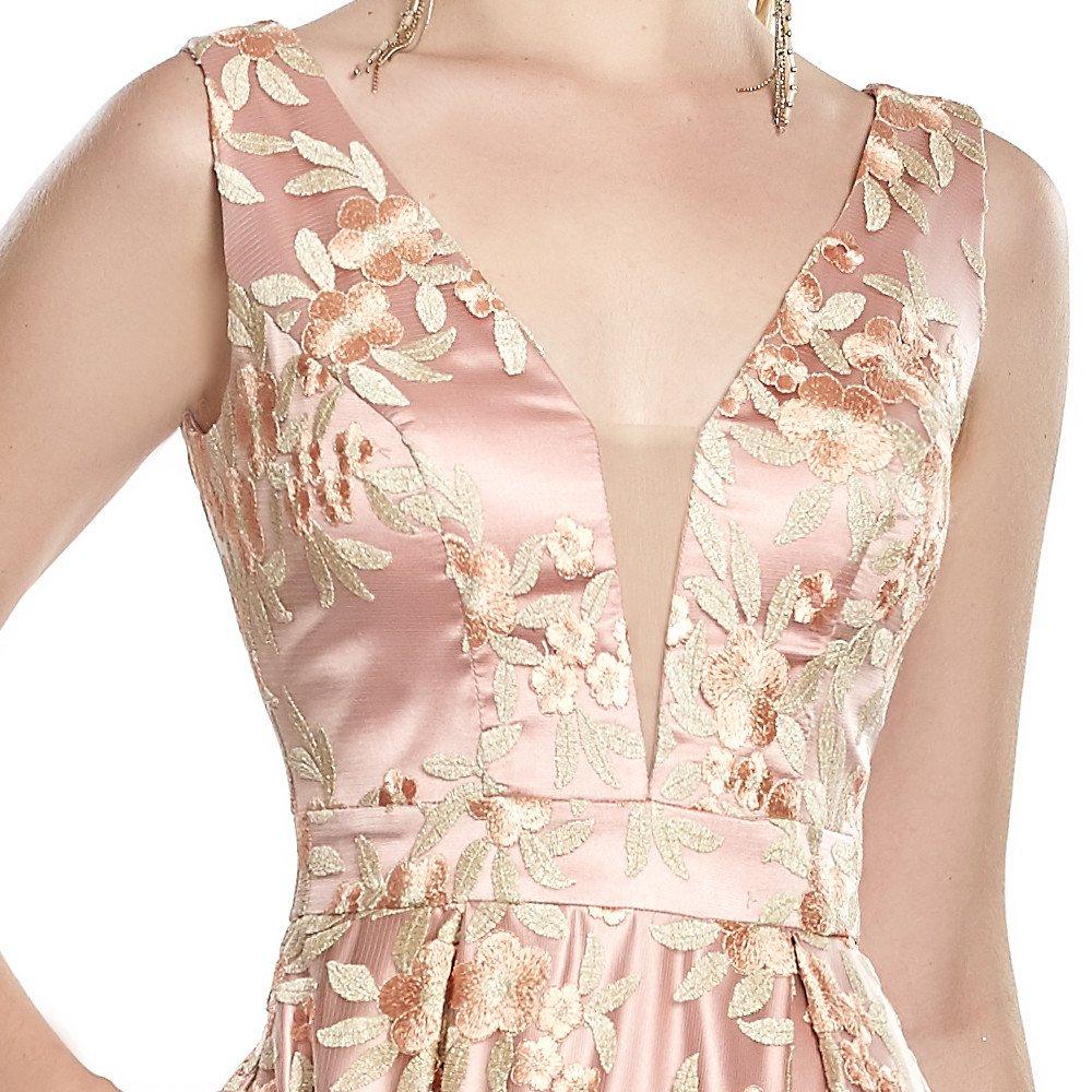 Almudena vestido largo estampado floral con escote en V