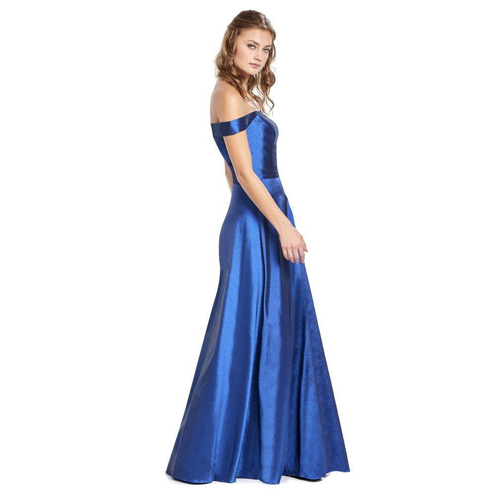 Aranza vestido largo con corte traslúcido en frontal y escote strapless.
