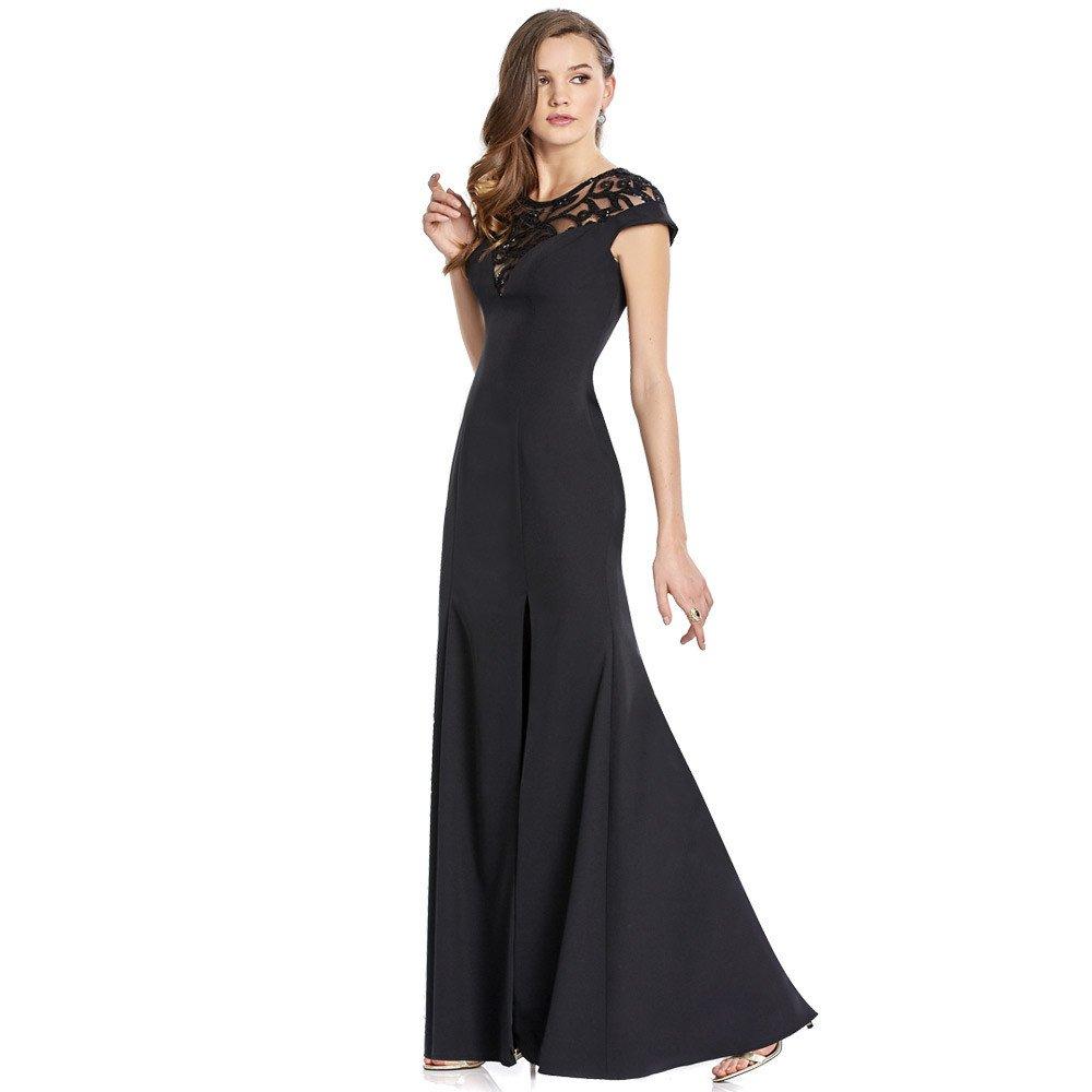 Silvia vestido con aplicación de lentejuela y acabado semi-traslúcido en escote.