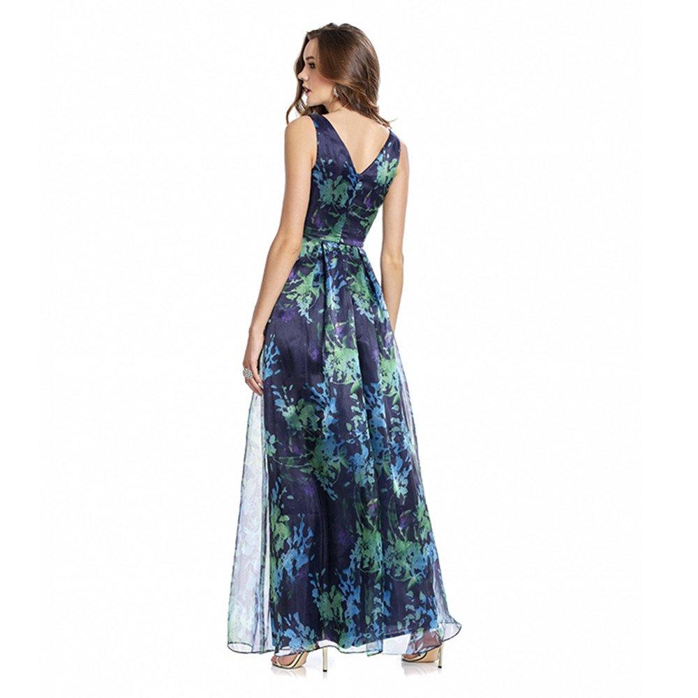 Georgina vestido largo estampado con escote en V sin mangas