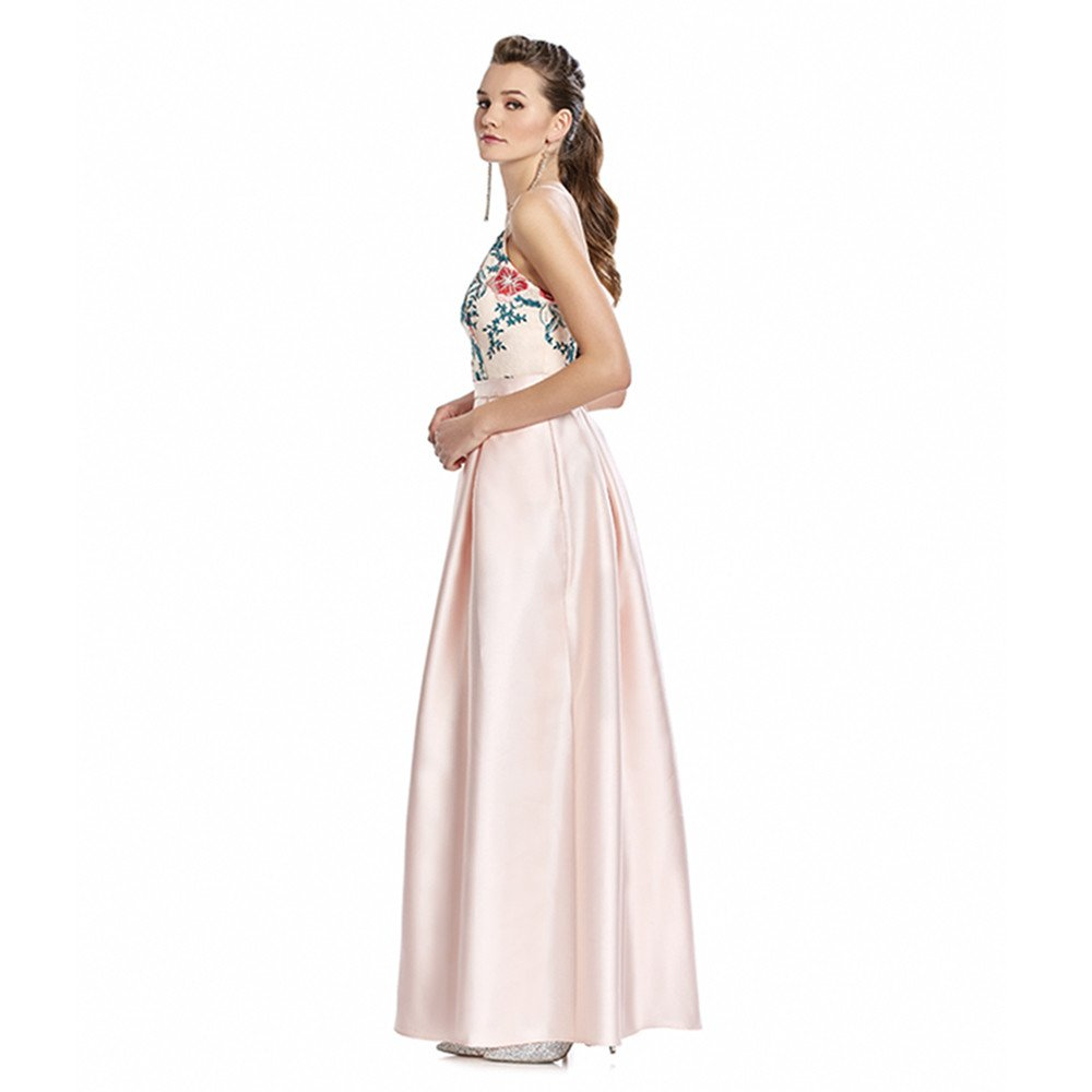 Gabriela vestido largo con top estampado y escote con transparencia